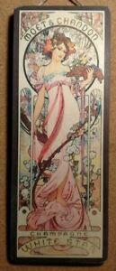 Tabella targa in LEGNO MOET CHANDON CHAMPAGNE MUCHA 1890 cm. 14x 38 arredo bar