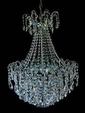 32 ARM BASKET CHANDELIER WITH MANY FINE CRYSTALS IN SILVER Ø 52 cm / 15 kg / New