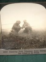 WW I US Army Doughboys Repairing Phone Line During Gas Attack - stereoview photo