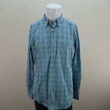 Lacoste Blue Long Sleeve Button Front 100% Cotton Plaid Casual Shirt Mens 42