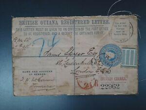 BRITISH GUIANA - 1904 4c REGISTERED P.STAT. ENV. TO LONDON (CVR.A1)