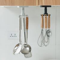 Kitchen Rack Free Punching Wall-mounted Rotating Hook Hanger Storage Shelf