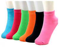 New 12 Pairs Womens Ankle Socks Soild Multi Color Size 9-11 Cotton Casual