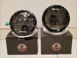 "Land Rover Defender PAIR LED Headlights 7"" Inch 90 110 Black FLY EYE Lens & DRL"