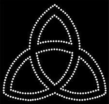 Black V Neck Short Sleeve Rhinestone Trinity Eternity Symbol XS S M L XL Bling