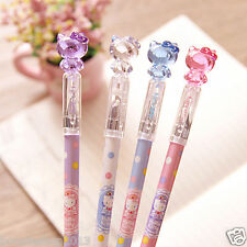 4 pcs/Lot hello kitty Princess Crystal cat head pen Gel pen 2016 New