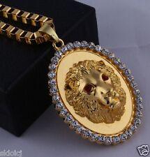 18k Gold Plated Lion HEAD PIECE Rhinestone Pendant Chain Hip Hop Necklace N38