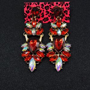 Betsey Johnson Red Crystal Enamel Rhombus Jewelry Women's Ear Stud Earrings