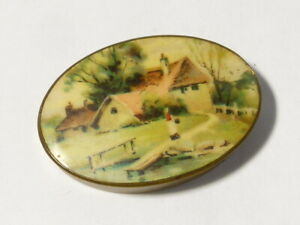 Vintage c1970's Brass Pill Box with Celluloid Plastic Pictorial Lid