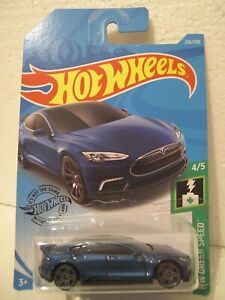 HOT WHEELS DIECAST CAR 1:64 2018 TESLA MODEL S 226/250 HW GREEN SPEED 4/5