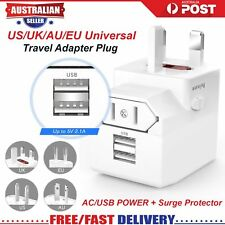 Travel Power Charger Universal Adapter Plug AU UK EU US With USB port x 2