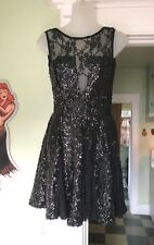 US 4 ASOS Black Sequin Skater Dress Deep V Lace Small New NWT