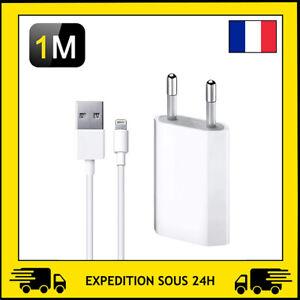 CHARGEUR PRISE SECTEUR ET/OU CABLE USB 1M APPLE IPHONE SE/6/7/8/X/XR/11/12 PRO