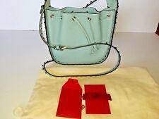 VALENTINO GARAVANI Rockstud Small Drawstring Crossbody Shoulder Bucket Bag Blue