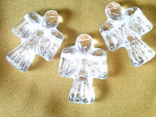 Vtg 3 DRUK ANGEL 25x19 GLASS BEADS CZECH HOLIDAY ornament ROSARY #072513n