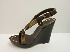 BALLY MARTI Rope Brown Leather Platform Wedge Heels Shoes IT 39.5 US 9 $645 NIB!