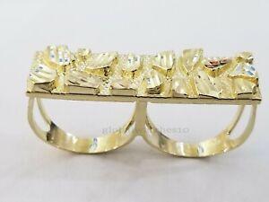10k Yellow Gold Nugget Two Finger Men's Ring Diamond Cut Design Double Finger