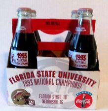 1993 Florida State University National Champions 4 Pack Coca Cola Full Bottles
