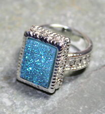 SILVER Vintage Style Sky Blue Rainbow Titanium Druzy 10x14mm Ring Size 9.75