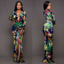 Womens Plunge V Neck Floral Bodycon Cocktail Evening Party High Slit Full Dress 3xl