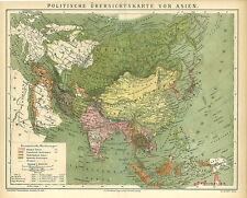 Alte Landkarte 1882: Politische Übersichtskarte von Asien. Mongolei (B13) *a