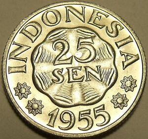 Gem Unc Indonesia 1955 25 Sen~1st Year Minted~Excellent