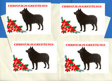 SCHIPPERKE PACK OF 4 DELIGHTFUL CARDS DOG PRINT GREETING CHRISTMAS CARDS