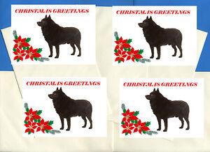 SCHIPPERKE PACK OF 4 DELIGHTFUL CARDS DOG PRINT GREETING CHRISTMAS CARDS