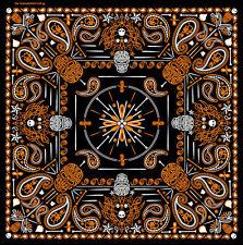 Orange Paisley Skulls BIKER BANDANA