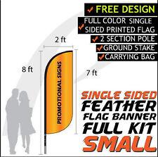 8FT Full Color Feather Single Sided Custom Flag Banners w/Fiberglass Pole kit