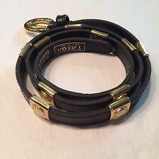 "Vtg Women's 1/2""w Italian Black Leather Belt Bright GoldTone Sq Maiden Head Acce"