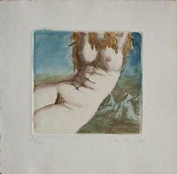 Gisela Breitling - Weiblicher Akt - aquarellierte Radierung - 1975 - 24/30