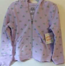 Jumping Beans Toddler Girl Hoodie 4T Purple Hearts Zip New