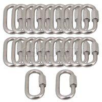 Multifunctional Quick Link Lock Ring Carabiner M4 Set of 10 Silver Tone
