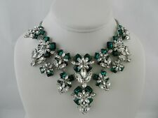 """Charter Club Silver-Tone Emerald Crystal & Stone Flower Statement Necklace, 17"""""""
