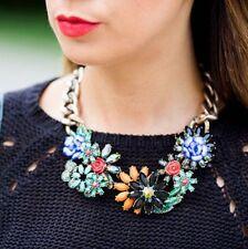 Statement Collar Lujo Grueso Cadena Cristal Flor Estrás flores de colores