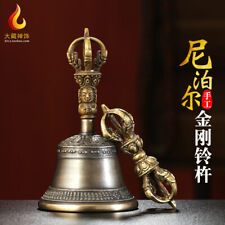 "7"" Tibetan bronze copper gilt Nepal Buddhism handmade Dorje vajra bell statue"