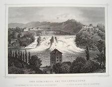 Schaffhausen Rhein Rheinfall Schweiz  echter alter Stahlstich 1844