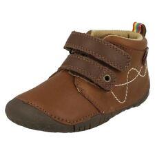 Chaussures beige avec attache auto-agrippant en cuir pour garçon de 2 à 16 ans