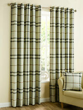 Lomond Tartan Check Ready Made Eyelet Curtains - Red, Natural, Duckegg
