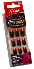 24 Kiss Halloween Costume Nails,Black and Blood Design Nail,Wicked Style,New