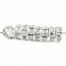 50 Strass Rondelle 6mm silberfarbig kristall Perlen Spacer nenad-design AN009