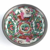 Famille Rose ACF Chinese Bowl Encased Pewter Hong Kong Floral 4 7/8