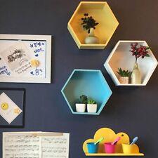 Nordic Hexagon Shelf Wall Hanging Rack Living Room mounted Geometric Organizer