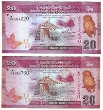 Sri Lanka 20 Rupees 2010 P123a 2 NOTES owl, butterfly, ships, drummer, dancer