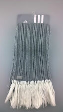 Ladies adidas Acrylic Grey Ribbed Scarf White Fringing Logo Xmas Gift