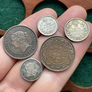 Canada. 19th Century And Later Inc 5 Cents 1882 H, 1907. (5 Coins)