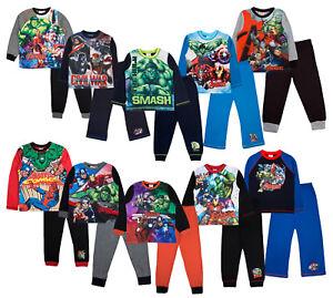 Boys Pyjamas Marvel Avengers Pyjama Set 2 Piece Superhero Pjs Full Length Size