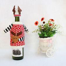 XMAS Deer Knitted Sweater Coat Hat Wine Bottle Wrap Cover Topper Decor Bag Gift