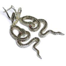 Markasite mit Rubine Schlangen Klappcreolen Ohrringe 925 Sterlingsilber Damen